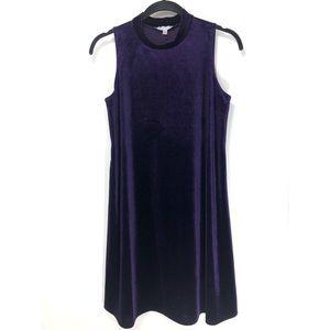 ANNALEE & HOPE Velvet Dress Purple Trapeze Mock